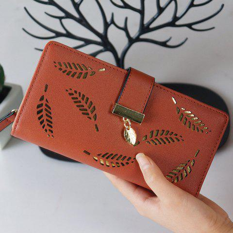 New Lady Fashion Hollowed-Out Leaves Money Clips - BROWN ONE SIZE