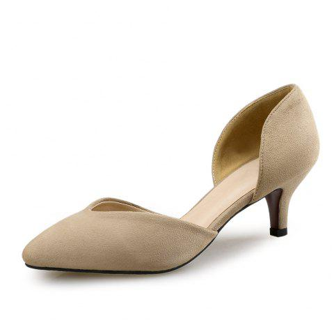 Pointed Stiletto Shallow Mouth Single Shoes Four Seasons Work Shoes - LIGHT KHAKI EU 38