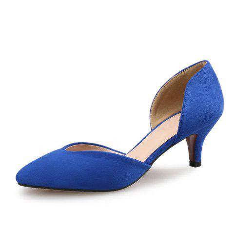 Pointed Stiletto Shallow Mouth Single Shoes Four Seasons Work Shoes - BLUE EU 38