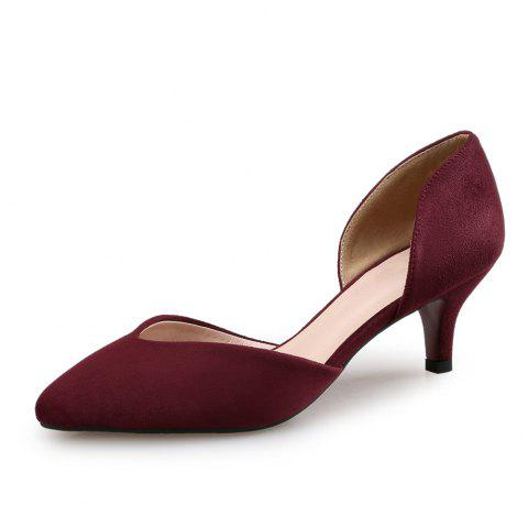 Pointed Stiletto Shallow Mouth Single Shoes Four Seasons Work Shoes - RED WINE EU 35