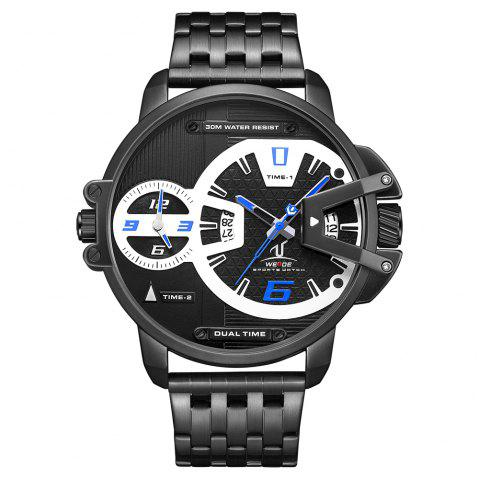 Men's Multi-function Double-core Display Sports Business Steel Band Watch - BLUE