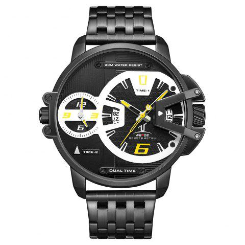 Men's Multi-function Double-core Display Sports Business Steel Band Watch - YELLOW