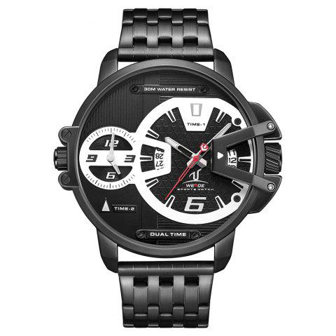 Men's Multi-function Double-core Display Sports Business Steel Band Watch - BLACK