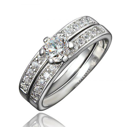 XU Women Zircon 18K Gold Plated Rings Refers To The Ring - TRANSPARENT US 8