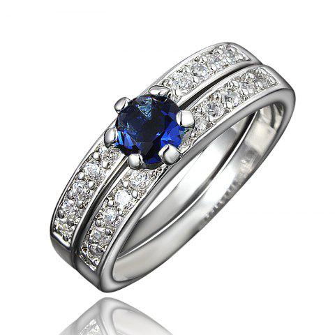XU Women Zircon 18K Gold Plated Rings Refers To The Ring - BLUE US 6