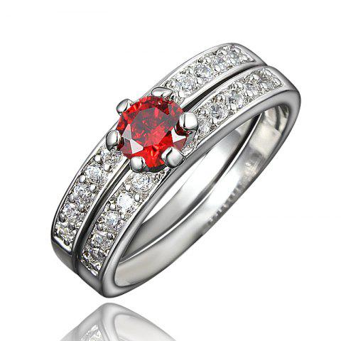 XU Women Zircon 18K Gold Plated Rings Refers To The Ring - RED US 8