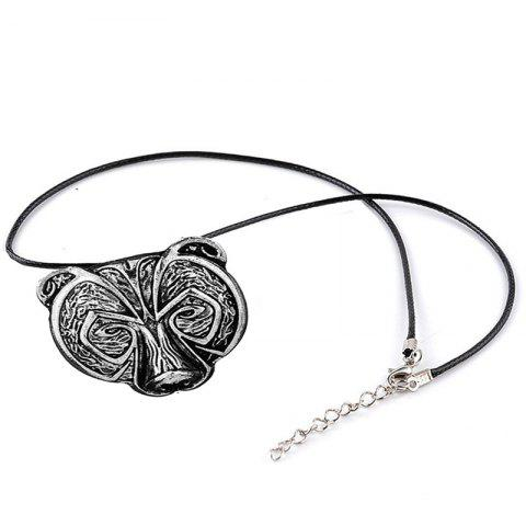 European and American Style Men's  Head Pendant Necklace - SILVER
