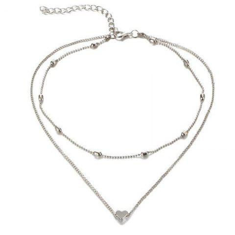 Lady Baitao's Peach Heart Multilayer Necklace - SILVER