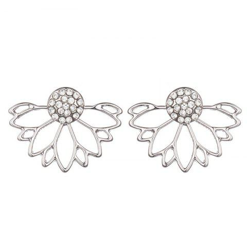 Sweet and Delicate Lady with Lotus-Shaped Earrings - SILVER