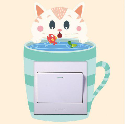 Fashion Cartoon Cute Cat Light Switch Wall Sticker For Bedroom Decoration - multicolor 20X14CM