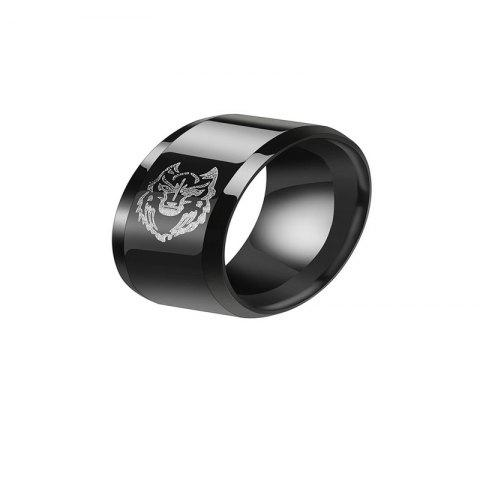 Leisure Style Personality Male Black Stainless Steel  Pattern Ring - BLACK US 8