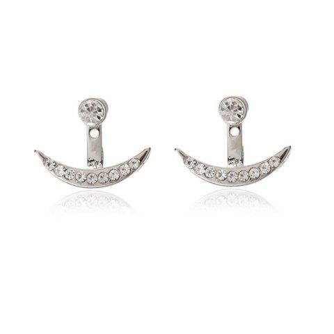 Fashion Trendy Ladies Drill Crescent Ear Nails - SILVER