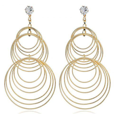 Fashion Lady's Simple Geometric Ring Earrings - GOLD