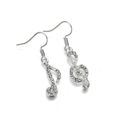 Sweet Delicate Lady's Note Asymmetric Earrings - SILVER
