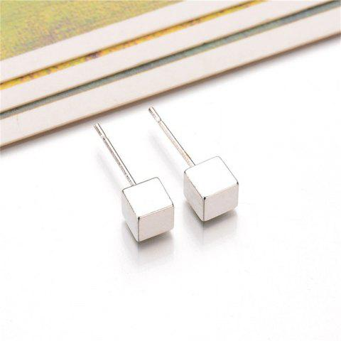 Ladies Simple Cube Ear Nails - SILVER