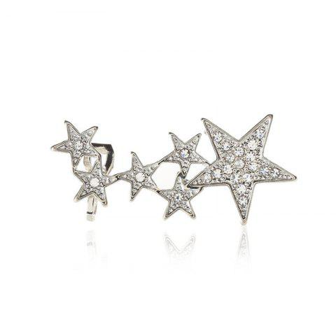 Fashionable and Elegant Lady with Diamond Star Ear Studs - SILVER
