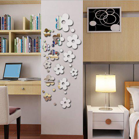 Romance Fashion Flowers Creative DIY Removable Mirror Wall Stickers - SILVER 50*60CM