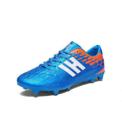 Youth Football Shoes Men and Women Adult Grass AG Spikes Leather Training  Shoes - BLUE EU f90e72208d