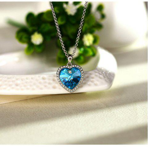 Heart of The Ocean Crystal Short Pendant Necklace - DEEP SKY BLUE
