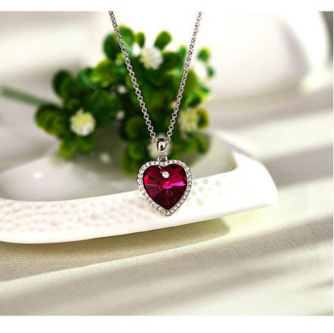 Heart of The Ocean Crystal Short Pendant Necklace - CHERRY RED