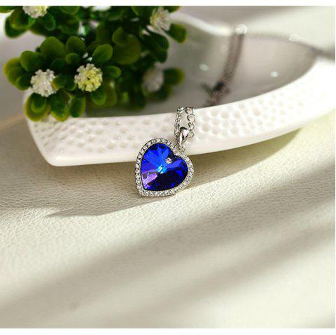 Heart of The Ocean Crystal Short Pendant Necklace - COBALT BLUE