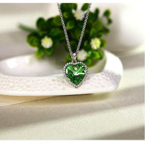 Heart of The Ocean Crystal Short Pendant Necklace - GREEN ONION