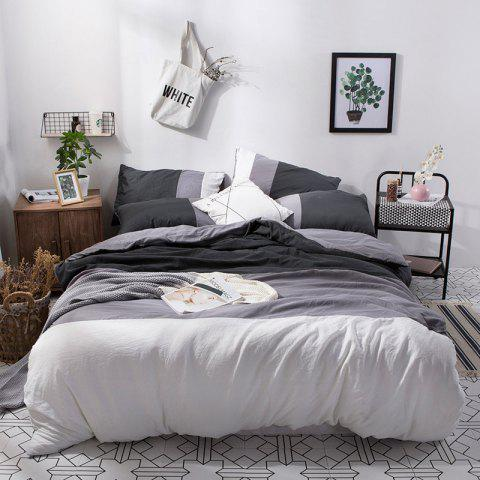 NIUFEISI Four Sets of Triple Wash Cotton Double Bed - GRAY QUEEN SIZE