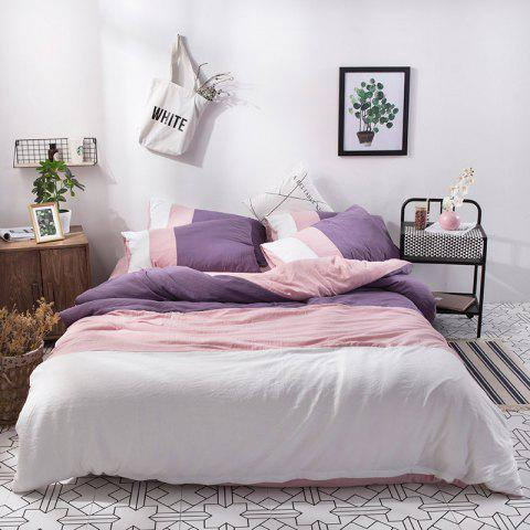 NIUFEISI Four Sets of Triple Wash Cotton Double Bed - PINK ROSE QUEEN SIZE