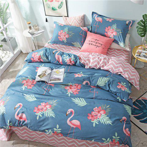 NIUFEISI Printed Aloe Cotton Double Bed Four-Piece Set - multicolor A QUEEN SIZE