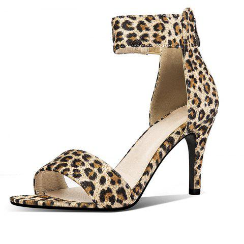 Summer Open Toed Stiletto Leopard Print Sandals with Zipper Back - LEOPARD EU 41