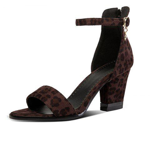 Summer Sandals with Chunky Leopard Print - DEEP BROWN EU 36
