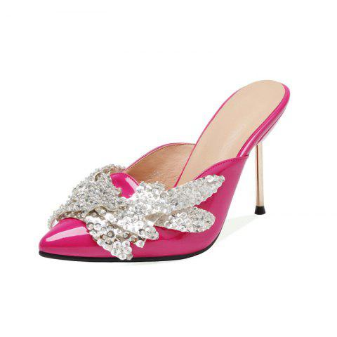 Fashionable Metallic Stiletto with Crystal Pointed Toe Cool Slippers - ROSE RED EU 34