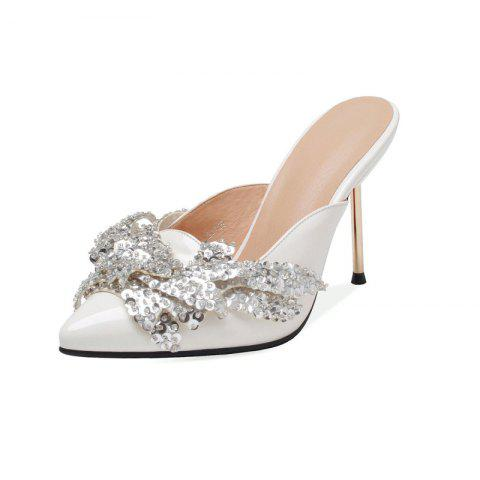 Fashionable Metallic Stiletto with Crystal Pointed Toe Cool Slippers - MILK WHITE EU 37