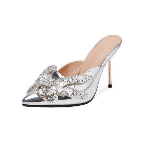 Fashionable Metallic Stiletto with Crystal Pointed Toe Cool Slippers - SILVER EU 34
