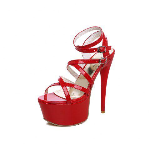 Super High 16 Cm Lady Sandals for Nightclub and Banquet - RED EU 37