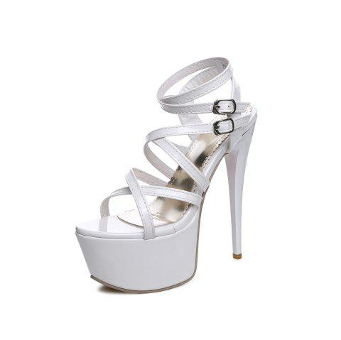 Super High 16 Cm Lady Sandals for Nightclub and Banquet - WHITE EU 36