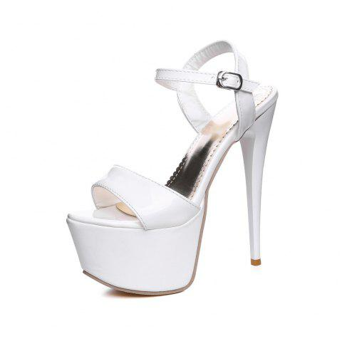 American Style Sandals for Wedding Night Club with 16 Cm High Belt - WHITE EU 43
