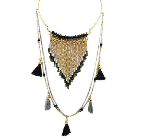 Black Blue Tassel Necklace - MIDNIGHT BLUE