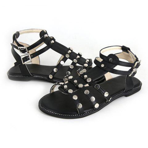 Flatsoled Lowheeled Casual Comfortable Sandals - BLACK EU 39