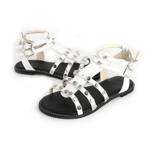 Flatsoled Lowheeled Casual Comfortable Sandals - WHITE EU 36