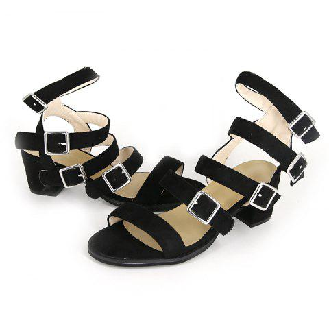 Belt Buckle Combination Open Toe High Heel Sandals - BLACK EU 41