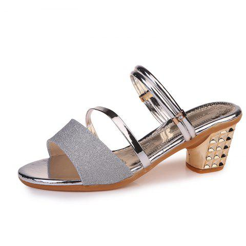 One Shoe And Two Summer Sandals For Women - PLATINUM EU 35