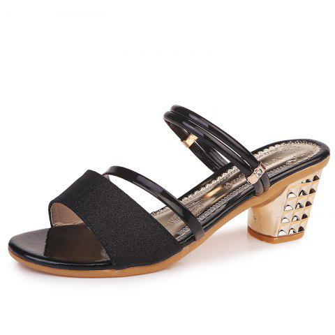 One Shoe And Two Summer Sandals For Women - BLACK EU 36
