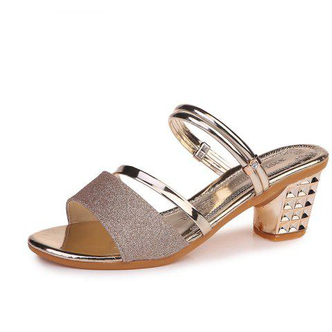 One Shoe And Two Summer Sandals For Women - GOLDEN BROWN EU 35