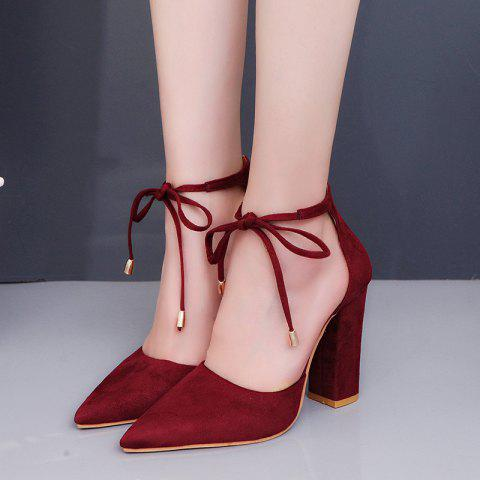Highheeled Laced Womens Shoes With Thick Heels - RED EU 39