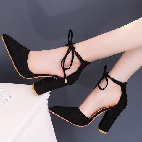 Highheeled Laced Womens Shoes With Thick Heels - BLACK EU 40