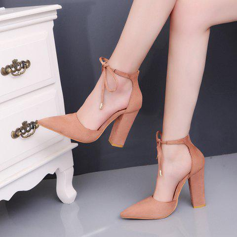 Highheeled Laced Womens Shoes With Thick Heels - CINNAMON EU 42