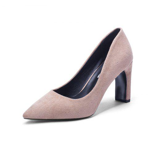 Fashion Pointed Thick Heels And High Heels - APRICOT EU 36
