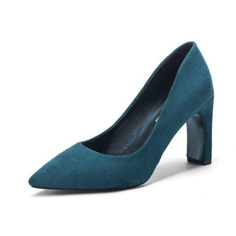 Fashion Pointed Thick Heels And High Heels - PEACOCK BLUE EU 37