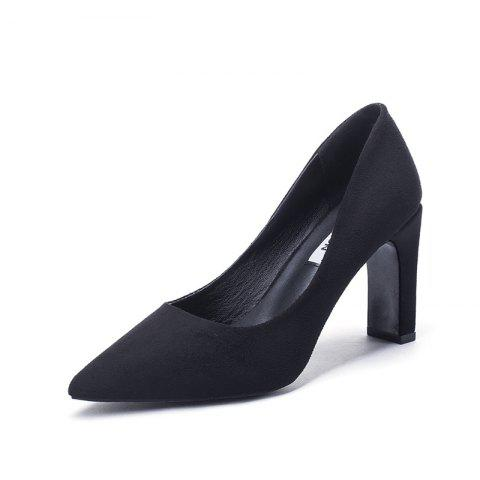 Fashion Pointed Thick Heels And High Heels - BLACK EU 36